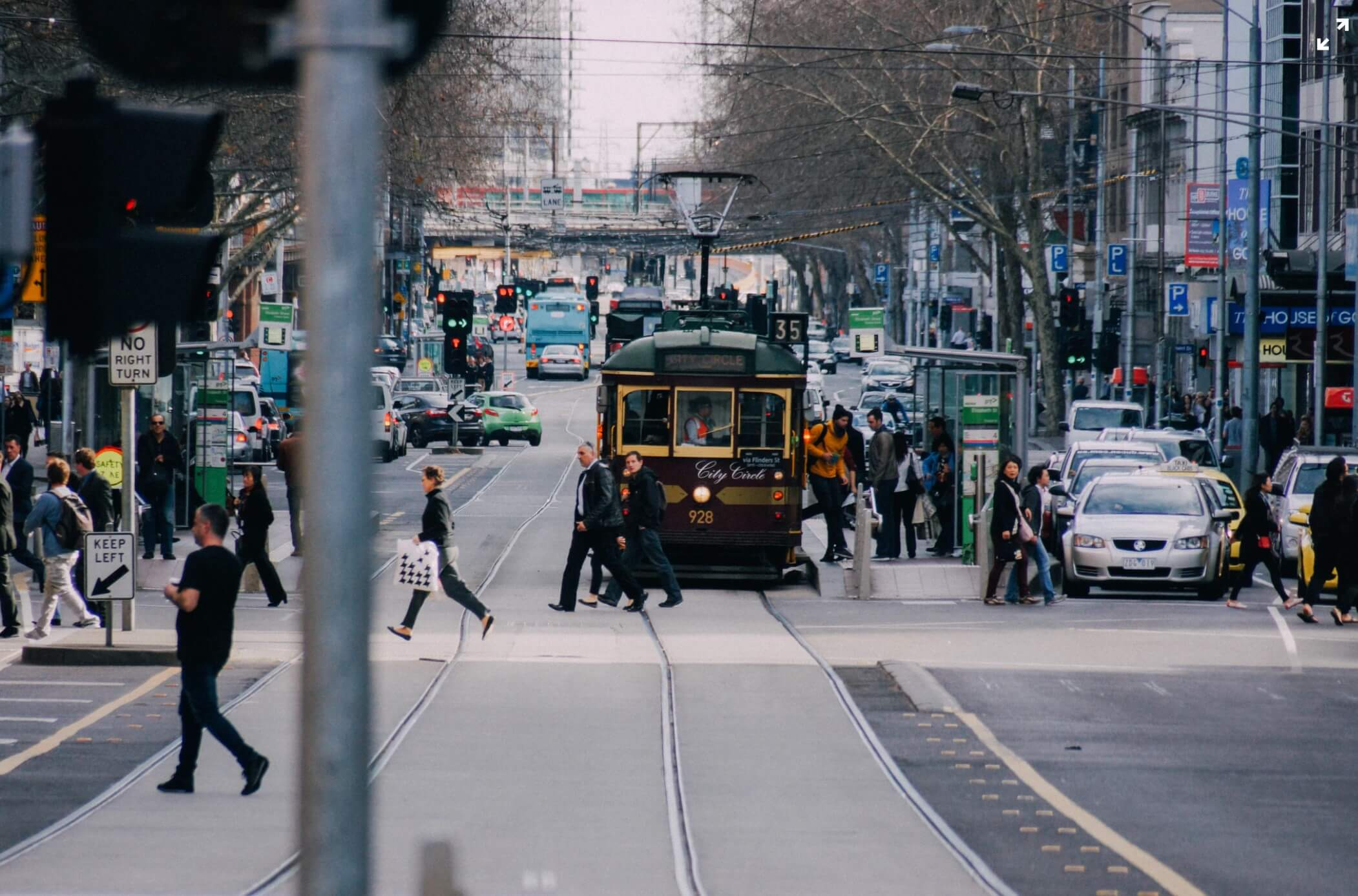 Hustle and Bustle of Melbourne Street with Tram